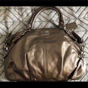 Coach Sophia Gunmetal Leather Satchel Handbag
